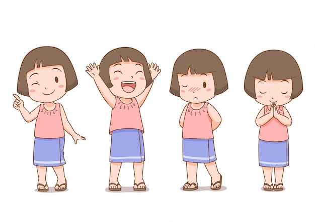 Set of cartoon cute girl in thai folk dress in different poses.