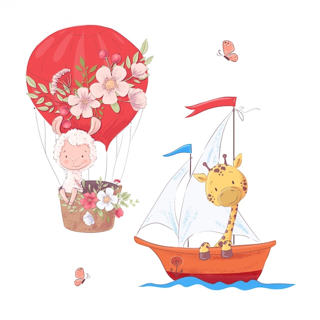 Set cartoon cute llama balloon and giraffe on sailboat kids clipart.