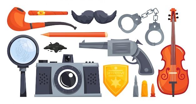 Set cartoon detective equipment. tobacco pipe, cigar, mustache, handcuffs, violin, revolver, detective badge, camera, dirt, magnifier, fingerprint.