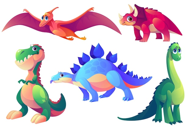 Set di animali preistorici di dinosauri dei cartoni animati
