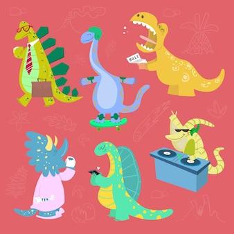 Set of cartoon dinosaurs