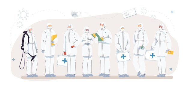 Set of cartoon  doctor characters and nurses in uniform,laboratory coats with medical devices-medic team,various poses and persons