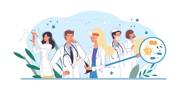 Set of cartoon  doctor characters and nurses in uniform,laboratory coats with medical devices