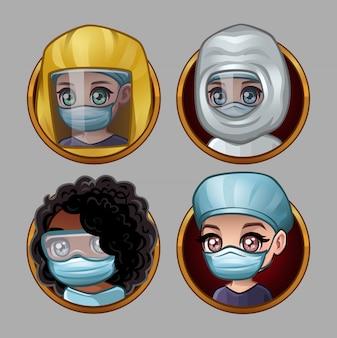 Set of cartoon doctors in protective masks