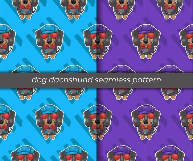 Set of cartoon dog dachshund seamless pattern