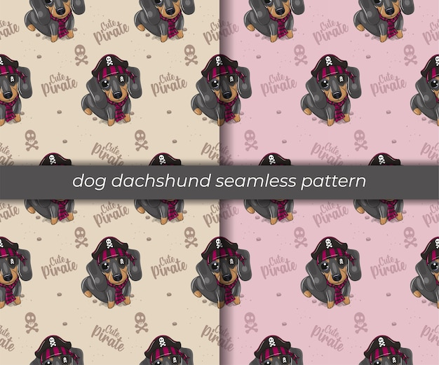 Set of cartoon dog dachshund seamless pattern