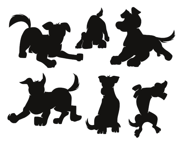 Set of cartoon dogs silhouette black on white