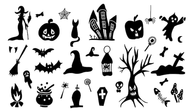 Set of cartoon doodle style silhouettes of halloween