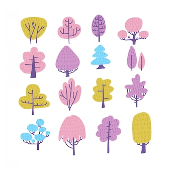 Set of cartoon doodle trees. beautiful hand drawn childish, scandinavian flat style illustration collection.