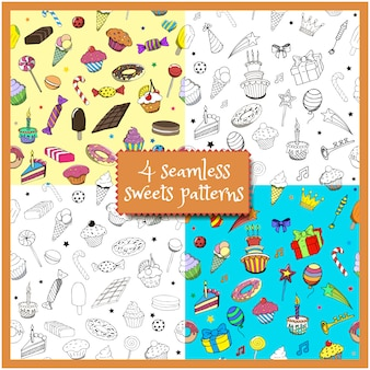 Set cartoon doodles hand drawn birthday party and sweets seamless patterns