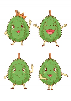 Set of cartoon durians in different poses.