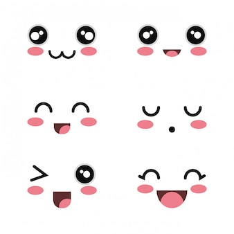 Set cartoon faces white background design