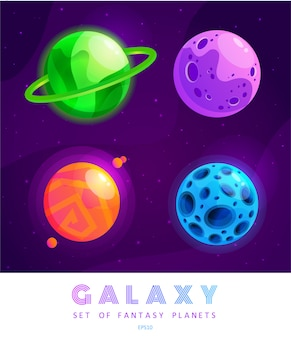Set of cartoon fantasy planets.