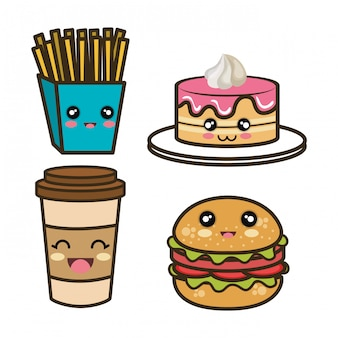 Set cartoon fast food design