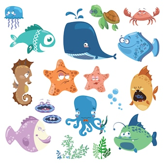 Set of cartoon fish. collection of funny baby fish.   illustration with marine residents.