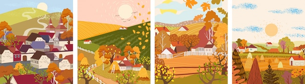 Set of cartoon flat autumn season village and town