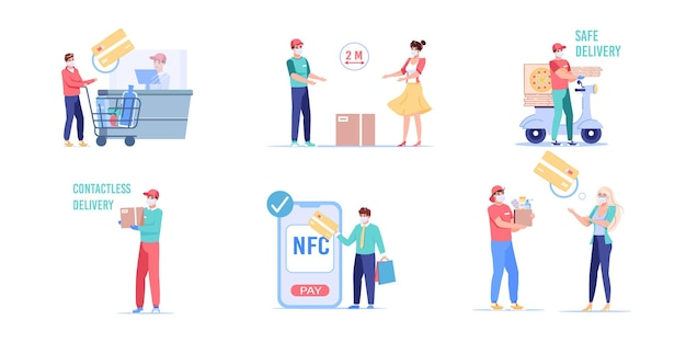 Set of cartoon flat style customer and employee characters illustration