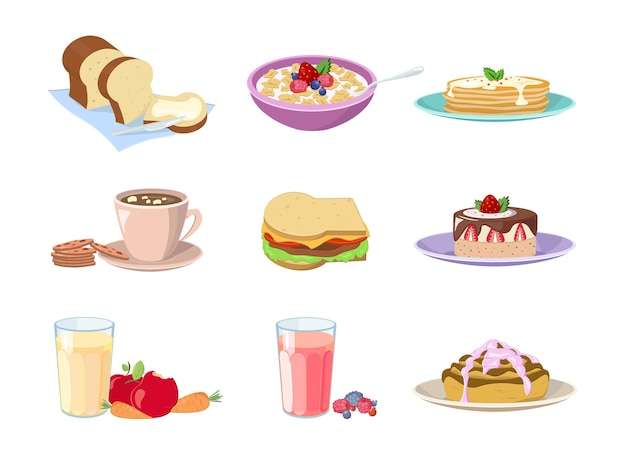Set of cartoon food breakfast. cafe or home food menu for traditional morning breakfasting icon isolated on white