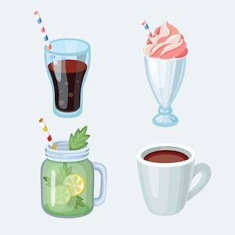 Set of cartoon food: non-alcoholic beverages - tea, herbal tea, hot chocolate, latte, mate, coffee