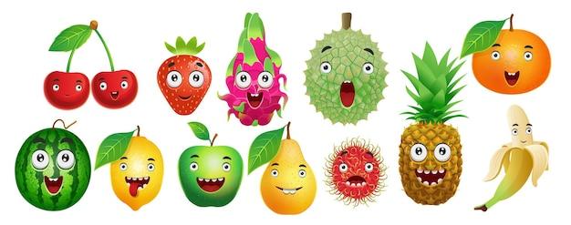 Set of cartoon fruits cherry strawberry dragon fruit durian orange watermelon lemon apple