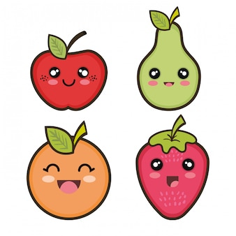 Set cartoon fruits design