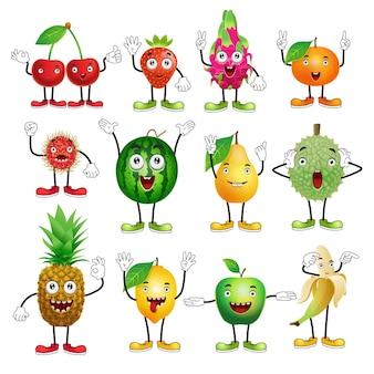Set of cartoon fruitscherry strawberry dragon fruit durian orange watermelon lemon apple