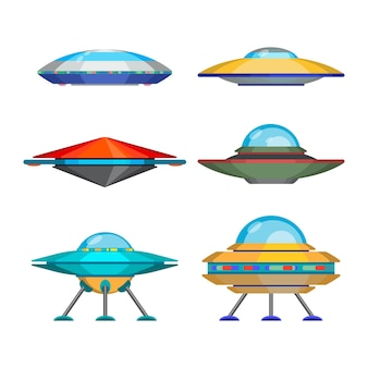 Set of cartoon funny aliens spaceships