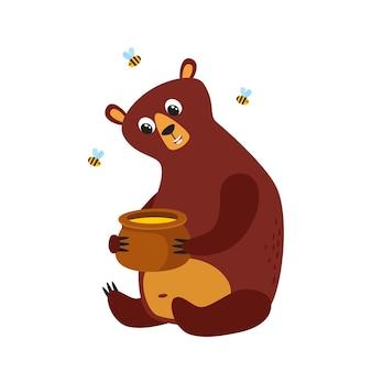 Set of cartoon funny bear, cute, funny animal, bear character with honey and bees
