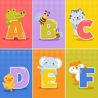 Set di cartoni animati divertenti differenza inglese alfabeti di asili nido o scuola materna