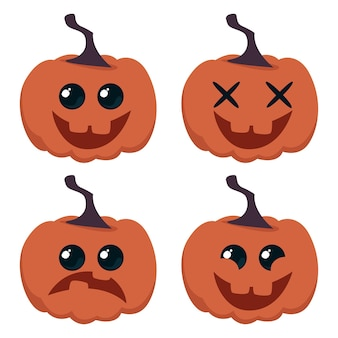 Set of cartoon funny pumpkins with different emotions happy halloween vector illustration