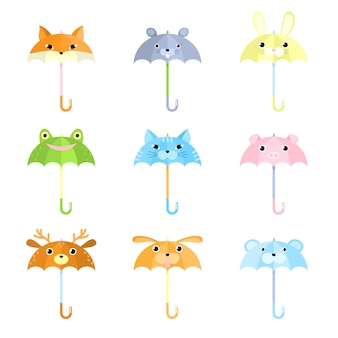 Set of cartoon funny umbrellas with animal faces   illustration