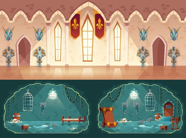 Set of cartoon game backgrounds, hall in medieval castle or ballroom with gobelins