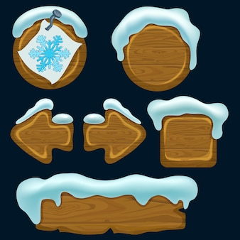 Set of cartoon game wooden panels.