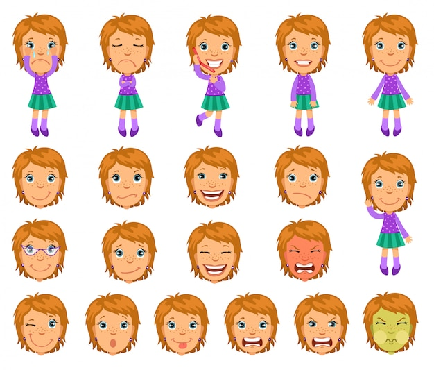 Set of cartoon girl character for animation.