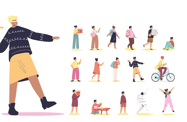 Set of cartoon girl with blindfolded closed eyes walking clothes in different lifestyle situations and poses: hold gift box, study in school, ride bike, cry. flat vector illustration