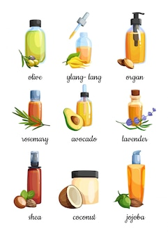 Set of cartoon glass bottles with cosmetic and essential oil.