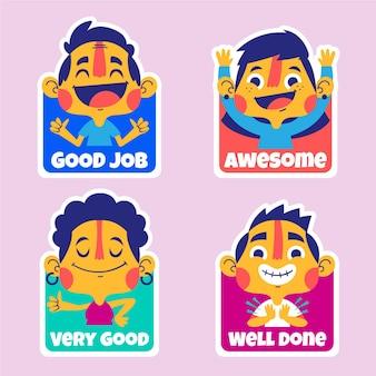 Set di adesivi di buon lavoro del fumetto