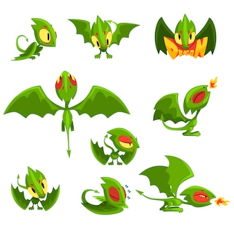 Set of cartoon green baby dragon character in different situations