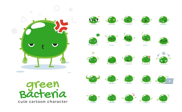 Set of cartoon  of green bacteria.  illustration.