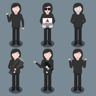 Set of cartoon hacker character in various poses and emotions. concept of internet protection, hacking and coding.