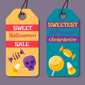 Set of cartoon halloween gift tag