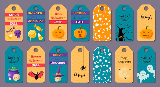 Set of cartoon halloween templates.