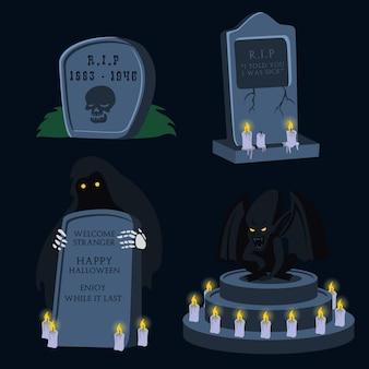 A set of cartoon halloween tombstone