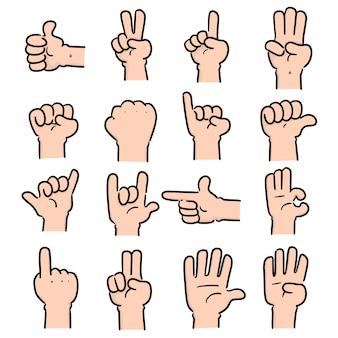 Set of cartoon hand
