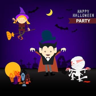 Set of cartoon happy halloween background