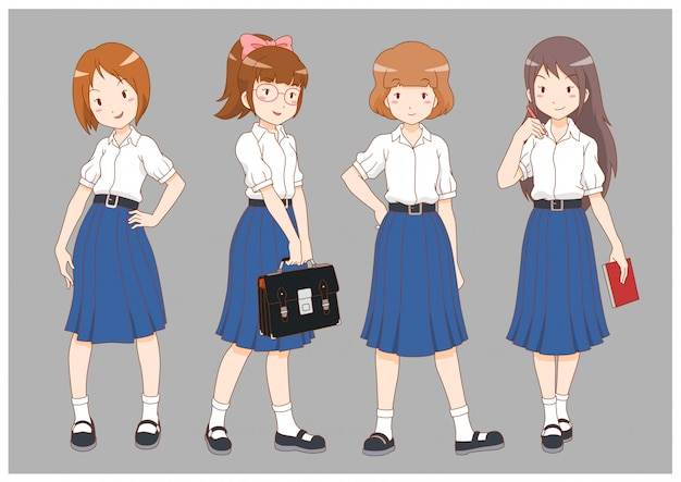 Set of cartoon high school girls.