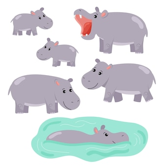 Set of cartoon hippos