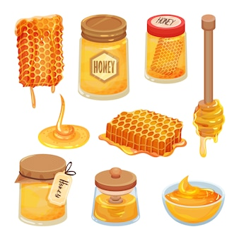 Set of cartoon honey icons. natural and healthy homemade product. bee honeycombs, jars and wooden dippers