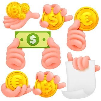 Set of cartoon human hands. cartoon andisolated objects. collection of various gestures. dollar, bitcoin, euro.