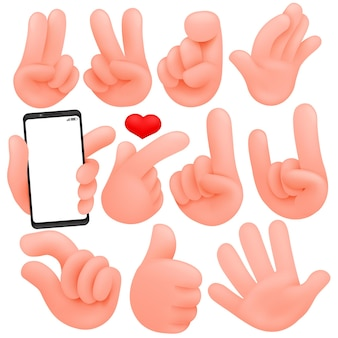 Set of cartoon human hands. cartoon andisolated objects. collection of various gestures(thumbs up, victory).